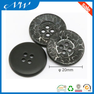 4holes Black Ployester Lady′s Suit Button with Crack Finish