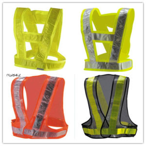 Polyester High Visible Safety Reflective Vest with Strip pictures & photos