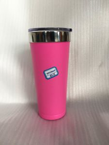 20oz Double-Wall Stainless Steel Vacuum Travel Tumbler with Pink Powder Coating