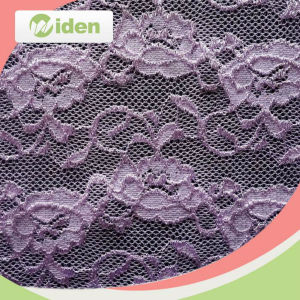 Garment Accessories Tricot Knit Tulle Lace Purple Stretch Lace Fabric pictures & photos