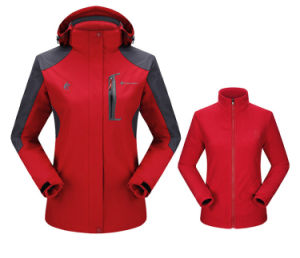 Fashion Outdoor Women Two-Set Quilted Ski Winter Jackets pictures & photos