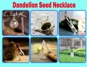 "Dandelion Necklace Dandelion Seed Filled Glass Orb Necklace Jewelry Spiral ""Dreams Come True"""