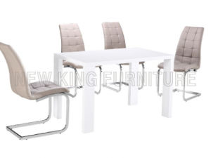Modern Cheap High Gloss White Wooden Dining Table (NK-DT059) pictures & photos