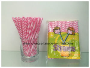 Plastic Tableware Spiral Duoble Colors Striped Hard Straight Straw pictures & photos