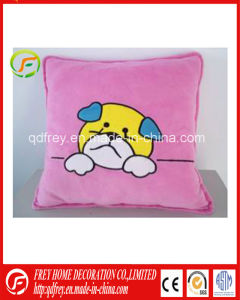 Plush Soft Cushion with Dog Embroidered