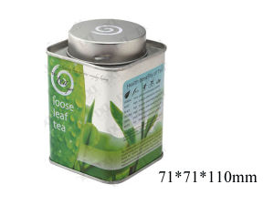 Square Metal Tea Tin Box with Cover