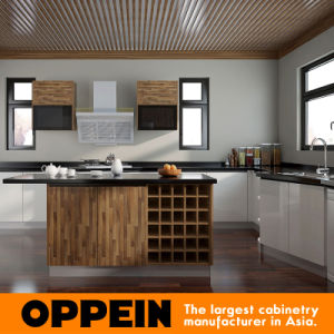 Oppein Acrylic Wood Kitchen Cabinet with Island (OP15-A07) pictures & photos