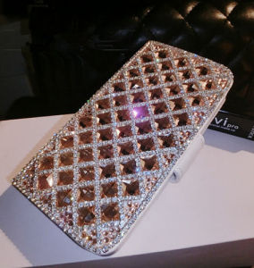Mobile Phone Bling Champagne Crystals Slot Cards Wallet Leather Case