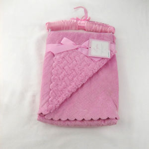 Solid Color Micro Mink with Sherpa Baby Blanket Ultrasonic UL001 pictures & photos