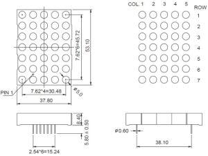 2 Inch 5X7 Single Color LED DOT Matrix pictures & photos