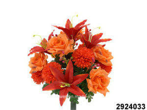 Artificial/Plastic/Silk Flower Tiger Lily/Rose/Chrysanthemum Mixed Bush (2924033) pictures & photos