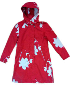 Red Longsleeve Hooded PVC Raincoat for Woman pictures & photos