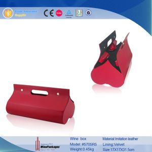 Lovely Heart Shaped Dual Bottles Portable Wine Tote (5705R5) pictures & photos
