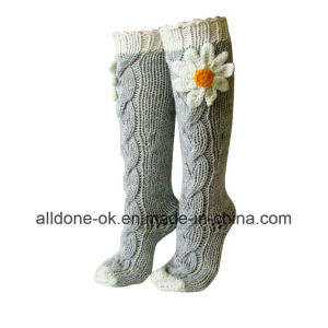 Hand Knit Leg Warmers Boots Socks Knee High Indoor Slippers pictures & photos