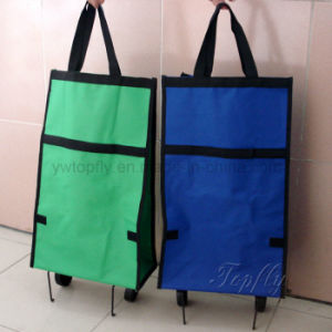 Folding Shopping Bag with Wheels Suit for Advertisement Promotional Giveaway pictures & photos