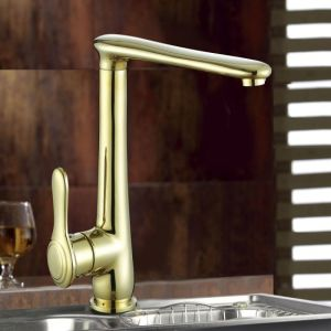 Bright Gold Finish Single Lever Brass Faucet for Kitchen