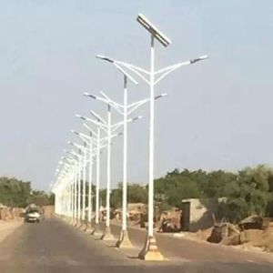 Produce Double Arms Lithium Battety Solar Street Light pictures & photos