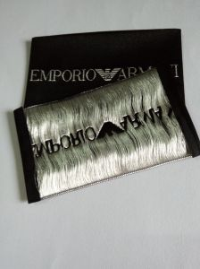 Black Background Silver Thread Garment Woven Label pictures & photos
