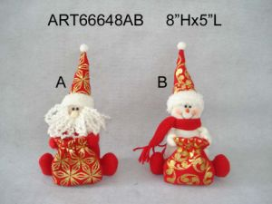 Christmas Santa Snowman Holding Giftbag, 2 Asst-Christmas Decoration pictures & photos