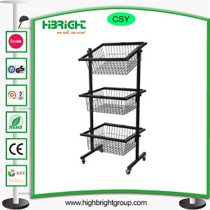 3 Tier Ajustable Metal Wire Basket Stand pictures & photos