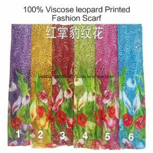 2017 Hot Sale Fashion Ladies Viscose Leopard Printed Designs Scarf pictures & photos