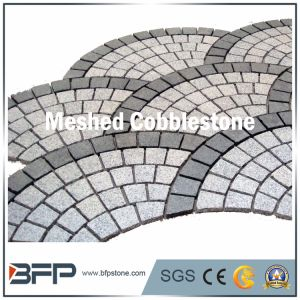Grey and Black Fanshaped Meshed Cobblestone for Square Paver pictures & photos