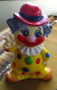 Clown Coin Piggy Bank, Hard Plastic - Red Hat & Polka DOT Suit pictures & photos