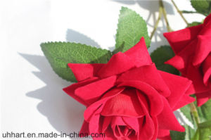 3 Heads Velvet Clothes Rose Wholesale Artificial Flower for Weddings pictures & photos