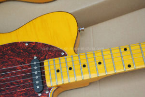 Hanhai Music/Yellow Tl Electric Guitar with Flame Maple Veneer pictures & photos