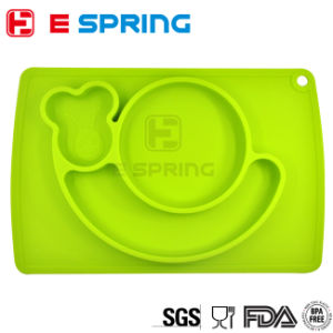 Food Grade One Piece Silicone Place Mat Kids Divided Plate pictures & photos
