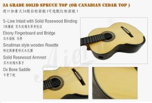 Aiersi Guitar Wholesale Seven String Smallman Classical Guitar (SC3007SPF) pictures & photos