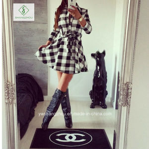 Explosions Leisure Autumn Fall Women Plaid Printed Spring Shirt Dress pictures & photos