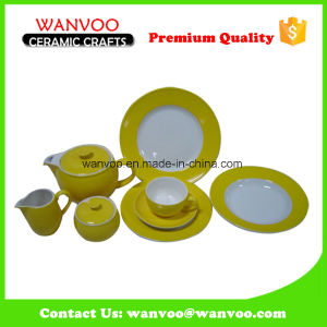 Yellow Ceramic Dinnerware Set with Cup Saucer and Milk Pot pictures & photos