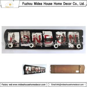 Decorative Wooden Wall Plaque with Ceramic Knob Hooks pictures & photos