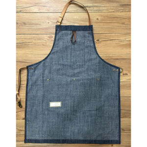 Customized Durable Blue Denim Gardening Aprons with Leather Tool Pockets pictures & photos