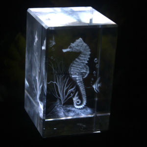 3D Laser Crystal Engraved Cube Block Craft for Souvenir pictures & photos