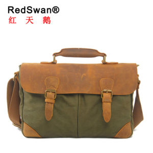 Washed Canvas Fabric Genuine Leather Business Man Briefcase (RS-2000) pictures & photos