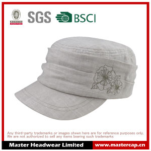 100% Linen Fabric Fashion Embroidery Army Cap for Girl