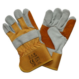 Double Palm Cut Resisitant Cowhide Split Leather Work Gloves for Miners pictures & photos