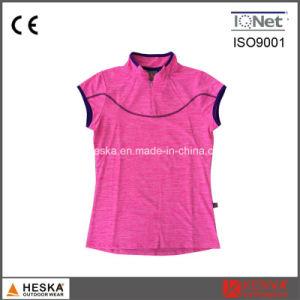 Custom Chinese Short Sleeve Collar Neck Women T Shirt pictures & photos