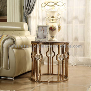 Popular Crystal Marble Top Round Side Table for Living Room pictures & photos