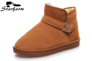 Tan Color Winter Suede Boots for Female Big Size pictures & photos