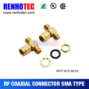 T Type Adapter SMA Male Plug to 2 SMA Female Connector pictures & photos