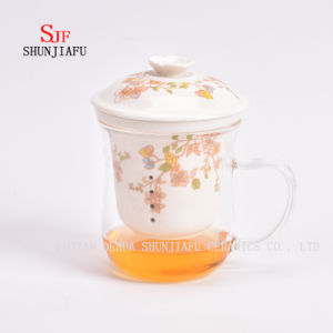 More Style and Colors Office Household Flower Tea Teacup Ceramic Filter and Borosilicate Glass Cup Combine Heat-Resistant Glass Teaset Cup pictures & photos