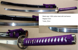 Handmade 1050 Steel Katana Sword with Real Hamon