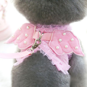 Adorable Comfort Cat & Dog Pet Safety Walking Vest Harness + Matching Lead Leash Angel Wings Costume Lace Peals Design pictures & photos