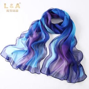 Digital Printing Real Silk Georgette Scarves Purple