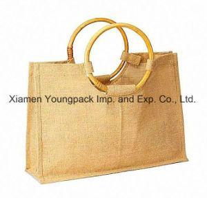 Wholesale Bulk Eco Friendly Burlap Bag Natural Jute Tote Bags with Cane Handle pictures & photos