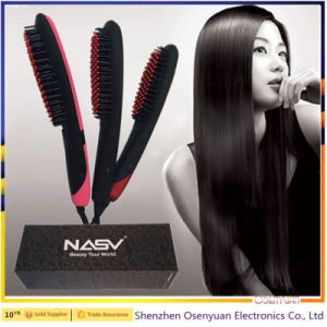 Profeesional Electric Hot Air Brush LCD Brush Hair Straightener pictures & photos