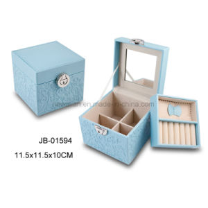 Cute Design Square Shape Gift Blue Leather Jewelry Box pictures & photos